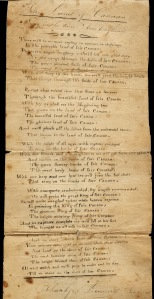 Handwritten Lyrics by Thankful A. Leonard, Plymouth Mass.